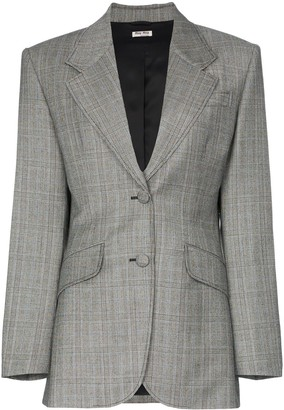Miu Miu single-breasted Prince of Wales check print wool blazer
