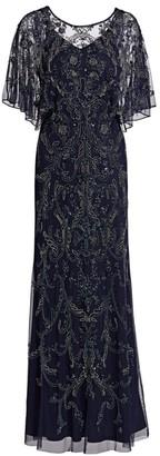 Aidan Mattox Embroidered Flutter-Sleeve Gown