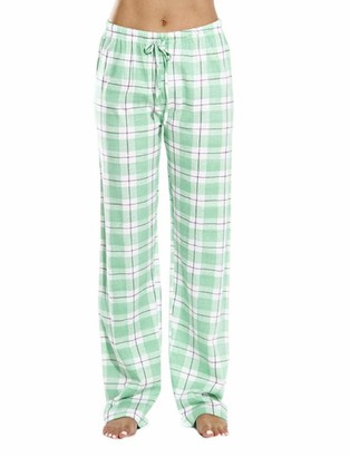 Femereina Women's Flannel Pajama Bottoms Buffalo Plaid Checked PJ Pants Lounge Night Sleepwear Pyjama Trousers (Pink M)