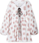 Caroline Constas Olympia Metallic Fil Coupé Cotton-blend Mini Dress - White