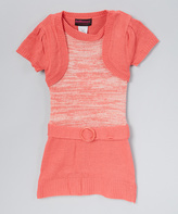Dollhouse Coral Belted Sweater Dress - Infant & Girls