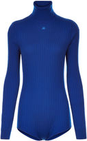 Courreges Blue Ribbed Roll Neck Body