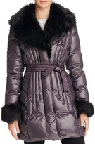 Via Spiga Faux Fur Trim Puffer Coat