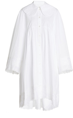 Simone Rocha Oversized Broderie Anglaise-Trimmed Cotton-Poplin Tunic