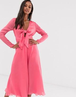 Asos Design DESIGN tie front midi dress in jacquard-Pink