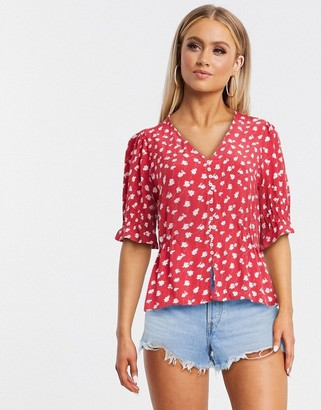 Pimkie ditsy floral blouse in red