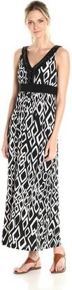 Ronni Nicole Women's Sleevless V Neck Beaded Print Maxi