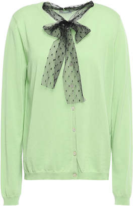 RED Valentino Pussy-bow Point D'esprit-trimmed Cotton Cardigan