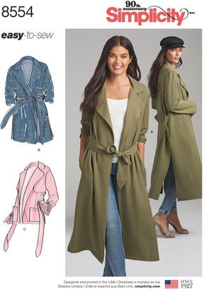 Simplicity Women's Trench Coat and Jacket Sewing Pattern, 8554