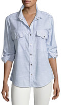 Sanctuary Striped Boyfriend Button-Front Shirt, Light Blue