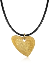 Stefano Patriarchi Etched Golden Silver Small Heart Pendant w/Leather Lace