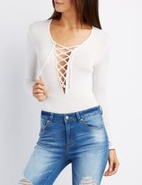 Charlotte Russe Lace-Up Long Sleeve Bodysuit