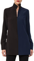 Akris Two-Tone Stand-Collar Tunic