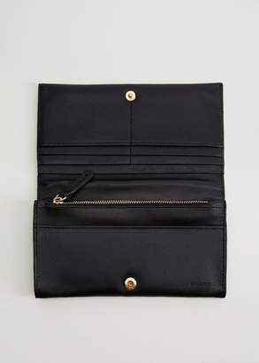MANGO Leather wallet black - One size - Women