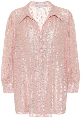 Stella McCartney Silk-blend leopard-fil coupe blouse