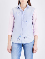NSF Axel colour-block distressed denim shirt