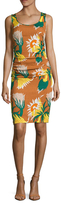 Tracy Reese Silk Printed Ruched Sheath Dress