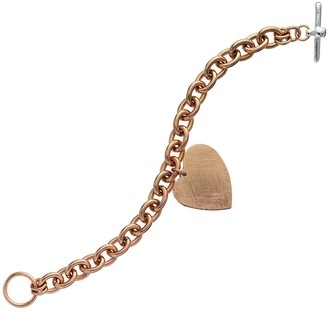 Jayden Star Isla Simone - 18 Karat Rose Gold Electro Plated Round Link Bracelet With Hanging Heart Charm