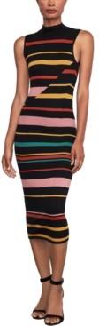 BCBGMAXAZRIA Striped Midi Sweater Dress