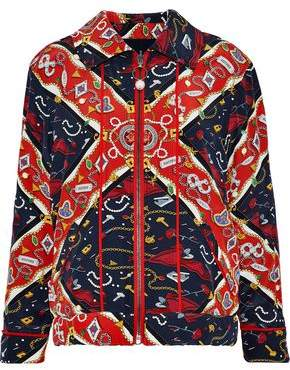 Opening Ceremony Reversible Faux Pearl-embellished Printed Silk Jacket