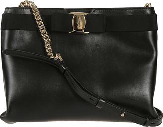 Salvatore Ferragamo Chain & Leather Strap Shoulder Bag