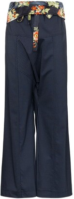Paco Rabanne Floral Belt Pinstripe Trousers