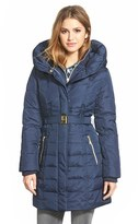 Kensie Women's Belted Hooded Down & Feather Fill Coat