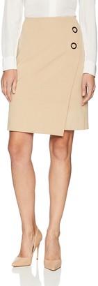 Nine West Women's Asymmetrical 2BTN Crepe WRAP Skirt