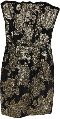 Dolce & Gabbana Black Lurex Floral Jacquard Strapless Mini Dress S