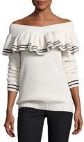 Self-Portrait Striped Off-the-Shoulder Rib-Knit Sweater