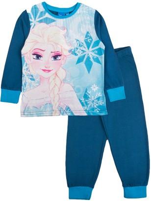 Disney Girls Frozen Pyjamas Elsa Blue Snowflake 5