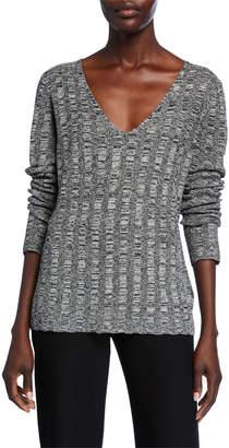 Eileen Fisher Silk/Organic Linen Marled V-Neck Sweater