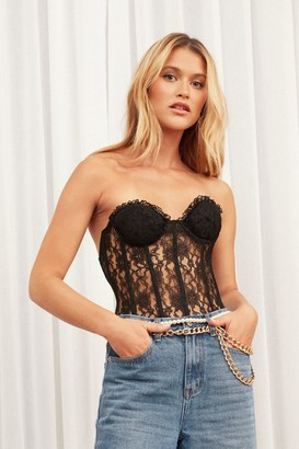 Nasty Gal Womens Lace Corset Top with Cupped Design - Black