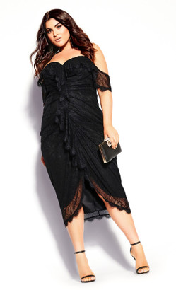 City Chic Lace Va Voom Dress - black