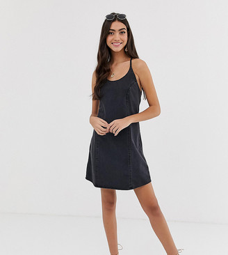 Asos Tall ASOS DESIGN Tall denim sundress with tie back in washed black