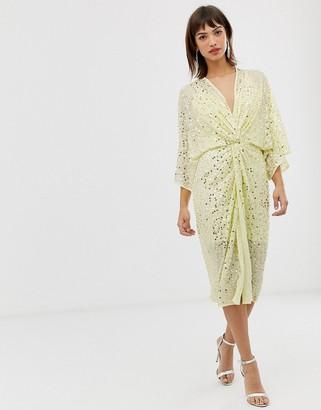 Asos Design DESIGN scatter sequin knot front kimono midi dress-Yellow