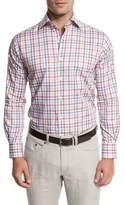 Peter Millar Summer Melange Check Shirt, Cape Red
