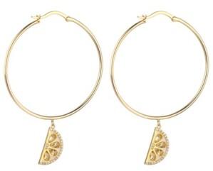 Noir Cubic Zirconia Lemon Hoop Earring