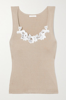 Chloé Guipure Lace-trimmed Ribbed Cotton Tank - Sage green