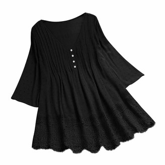 Younthone Women's Cotton Linen Shirt Summer Casual Loose Plus Size Top Vintage Ruffled Three Quarter Lace V-Neck T-Shirt Blouse Simple TeeShirt Dress for Women(Black UK:14/L)