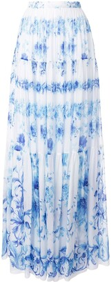 Ingie Paris high-waist floral pleated skirt