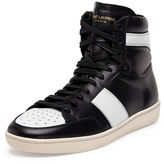 Saint Laurent Contrast-Stripe Leather High-Top Sneaker