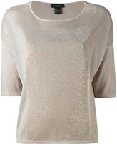 Avant Toi metallic panel T-shirt - women - Silk/Aluminium - XS