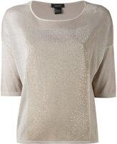 Avant Toi metallic panel T-shirt - women - Silk/Aluminium - XS