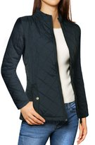 Allegra K Women's Long Sleeves Zippered Pockets Padded Quilted Jacket XL
