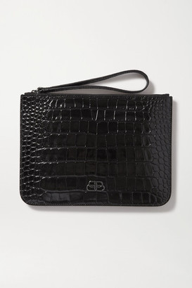 Balenciaga Bb Croc-effect Leather Pouch - Black