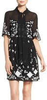 French Connection Women's 'Midnight Garden' Embroidered Woven Fit & Flare Dress