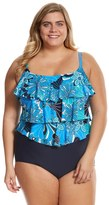 Penbrooke Plus Size Shell A GoGo Triple Tier One Piece Swimsuit - 8150467