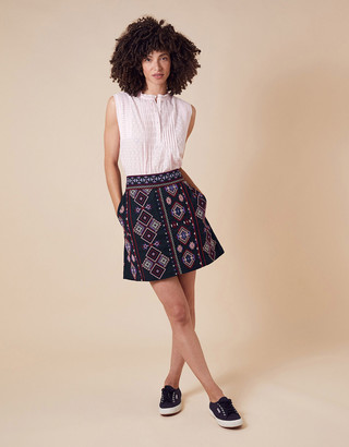 Monsoon Embroidered Mini Skirt in Organic Cotton Blue