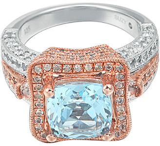 Suzy Levian Diamonds Suzy Levian Silver 6.60 Ct. Tw. Blue Topaz & White Topaz Ring